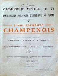 (2e partie) Catalogue spécial n° 71 des instruments agricoles d'intérieur de ferme