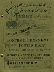 Fonderies et ateliers de construction Tusey près Vaucouleurs (Meuse) Laurent Chevailler Spécimens de modèles d'ornement nouvellement créés