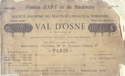 Fontes d'art et de bâtiment Société anonyme des Hauts fourneaux et Fonderie du Val d'Osne