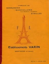 Fabrique de serrurerie, quincaillerie pour meubles & bâtiment, étrilles Etablissements Varin Saint Dizier (Haute Marne)