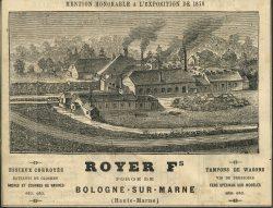Publicité – Royer Fs – Forge de Bologne-sur-Marne (Haute-Marne)