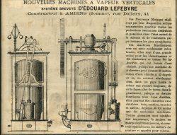Publicité – Nouvelles machines à vapeur verticales d'Édouard Lefebvre