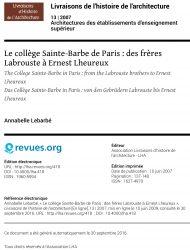 Le collège Sainte-Barbe de Paris : des frères Labrouste à Ernest Lheureux