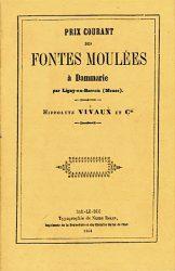 Prix courant des fontes moulées à Dammarie  – Fonderie Vivaux 1864