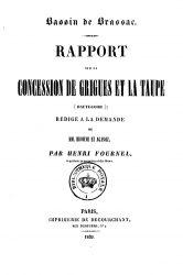 Bassin de Brassac – Rapport sur la concession de Grigues et La Taupe