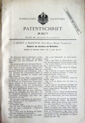 Kaiserliches patentamt – Patentschrift n° 56177 – A. Defert in Marnaval (Dep. Haute Marne, Frankreich)
