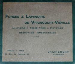 Forges et laminoirs de Vraincourt-Viéville – Laminoirs à tôles fines et moyennes – Découpage – Emboutissage