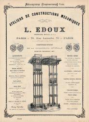Mécaniciens (Constructeurs) Paris – Ateliers de constructions mécaniques L. Edoux